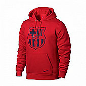 2013-14 Barcelona Nike Core Hooded Top (Red) - Red