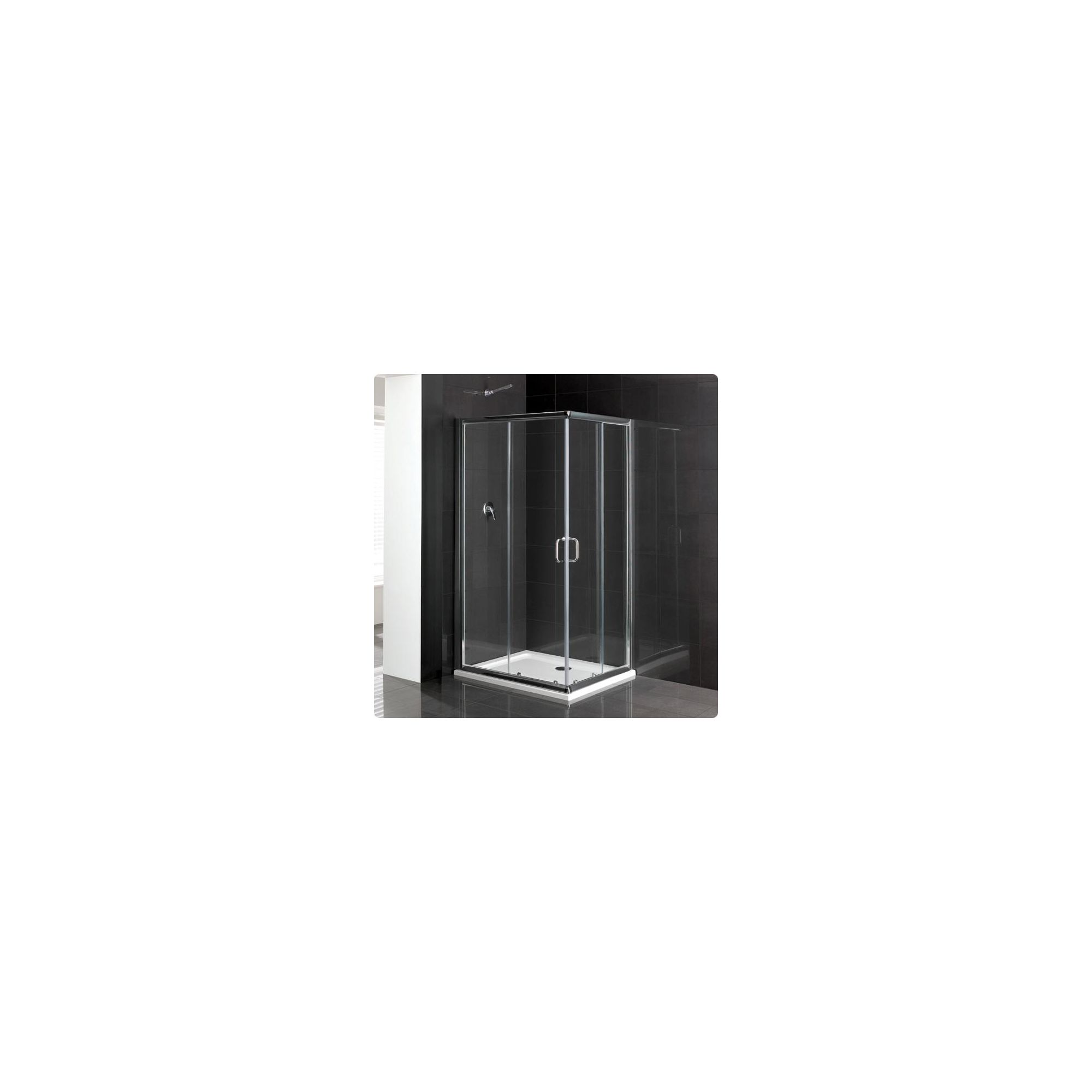 Duchy Elite Silver Offset Corner Entry Shower Enclosure 1000mm x 800mm, Standard Tray, 6mm Glass at Tesco Direct