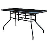 Seville Rectangular Glass & Steel Garden Table - Charcoal