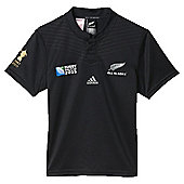 adidas New Zealand All Blacks Junior World Cup 2015 Replica Rugby Shirt - Black