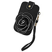 Tortoise™ Look Universal Faux Leather Pouch with wrist strap, Black with White trim.