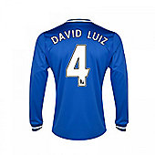 2013-14 Chelsea Home Long Sleeve Shirt (David Luiz 4) - Kids - Blue