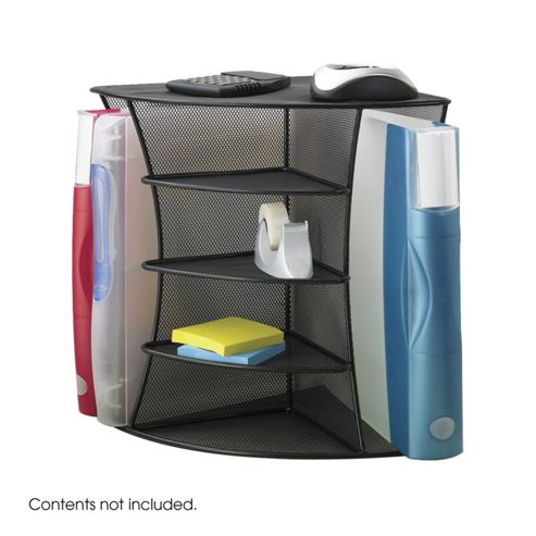 Safco Onyx Mesh Corner Organiser Dual Use in Black