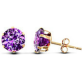 Jewelco London 9ct Yellow Gold studs claw-set with 6mm Solitaire purple CZ stone