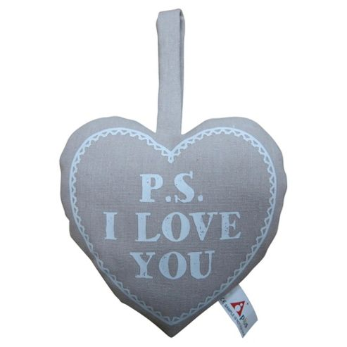 PS I LOVE YOU Print Heart Cushion