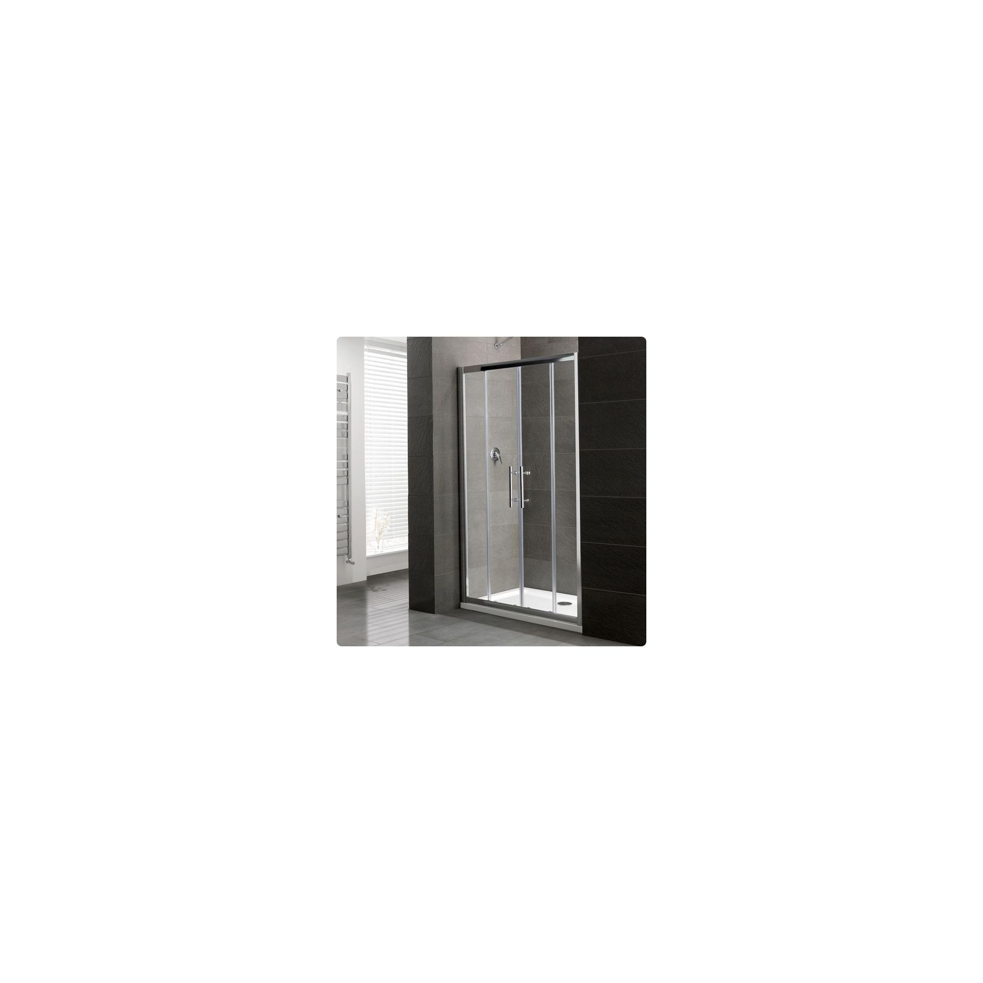 Duchy Select Silver Double Sliding Door Shower Enclosure, 1500mm x 800mm, Standard Tray, 6mm Glass at Tesco Direct