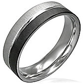 Urban Male Stainless Steel Brushed Finish Silver & Black 2 Colour Men's Ring 6mm