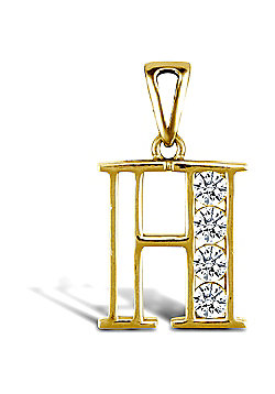Jewelco London 9ct Gold CZ Initial ID Personal Pendant, Letter H - 1.9g
