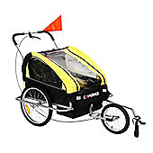 Confidence Folding Baby Stroller/Buggy W/ Suspension For Jogging/Attach To Bike Yellow