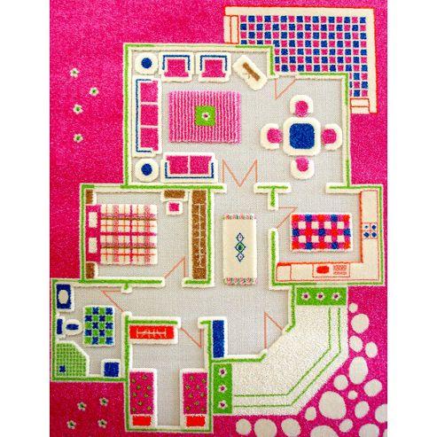 Little Helper 3D Playmat & Rug Playhouse Pink 134X180Cm