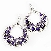 Large Teardrop Purple Enamel Floral Hoop Earrings In Silver Finish - 8cm Length