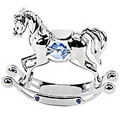 Crystocraft Blue Rocking Horse Christening Gift for Boys