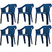 """Resol """"Cool"""" Garden Outdoor / Indoor Designer Plastic Chairs - Blue - x6 chairs"""