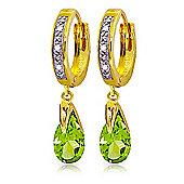 QP Jewellers Peridot & SI-2 Diamond Droplet Huggie Earrings in 14K Gold