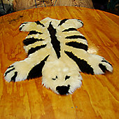 Bowron Sheepskin Designer Bear Rug in Champagne / Brown Striped - 115cm H x 80cm W