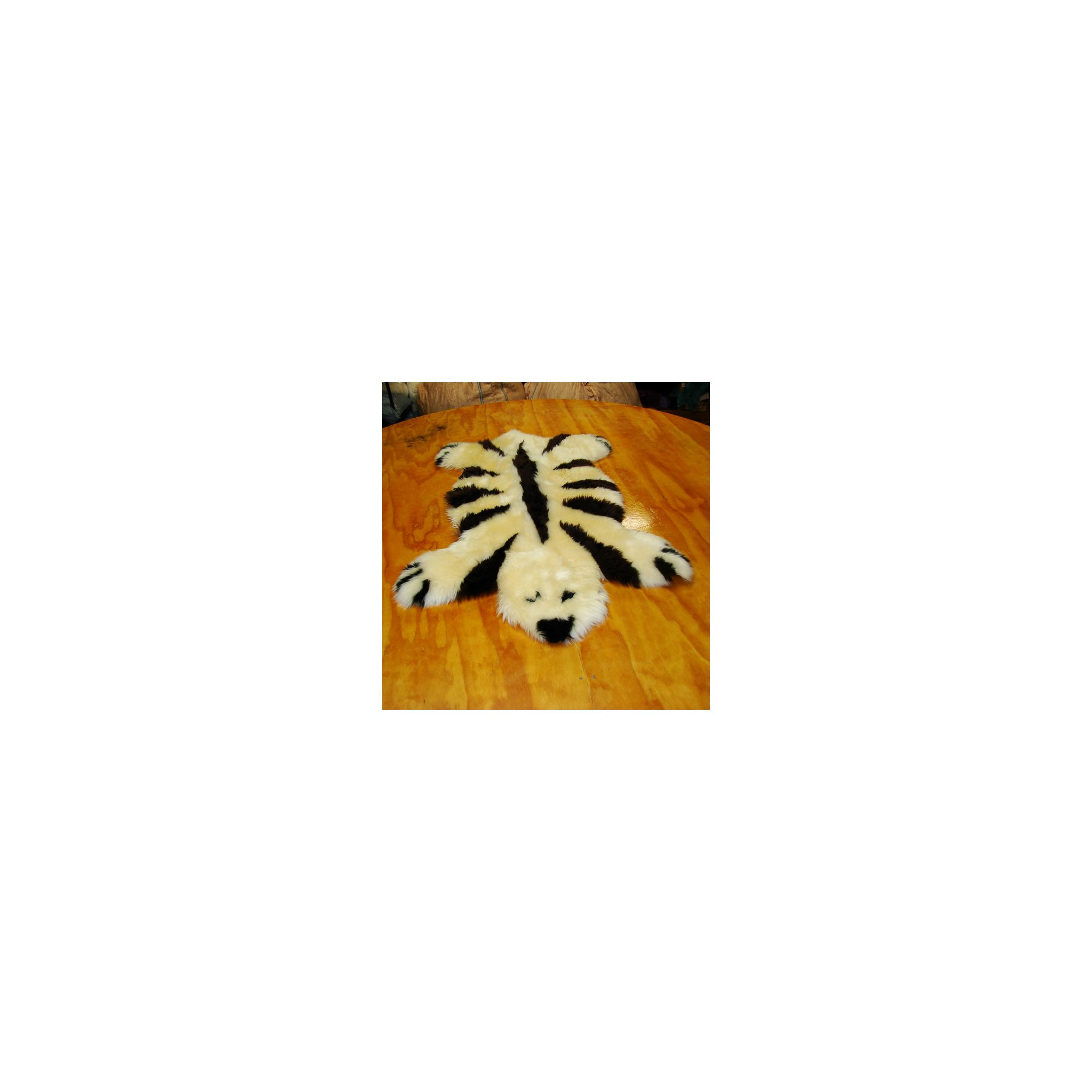 Bowron Sheepskin Designer Bear Rug in Champagne / Brown Striped - 115cm H x 80cm W