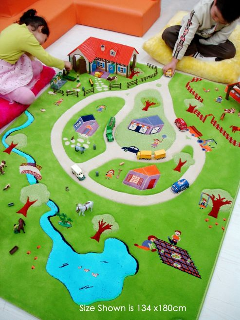 Little Helper 3D Play Mat & Rug Farm Theme 134X180Cm