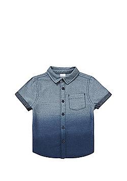 F&F Dip Dye Chambray Short Sleeve Shirt - Blue