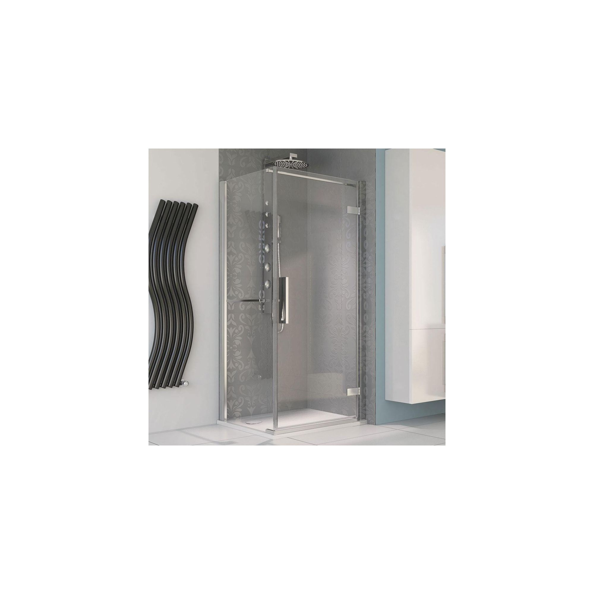 Aqualux AQUA8 Hinge Pivot Shower Door, 900mm Wide, Polished Silver Frame, 8mm Glass at Tesco Direct