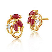 Gemondo 9ct Yellow Gold 0.45ct Natural Ruby & Diamond Floral Stud Earrings