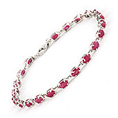 QP Jewellers 7in 8.0ct Ruby Infinite Tennis Bracelet in 14K White Gold