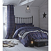 Catherine Lansfield Home Cosy Corner Navy Glencoe Cotton Rich,Fully Lined Curtains 66x72