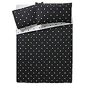Tesco Basic Spot Print Duvet Set KS Black