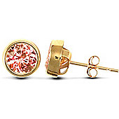 Jewelco London 9ct Yellow Gold round studs Rub-Over set with solitaire pink CZ stone