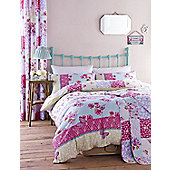 Gypsy Patchwork Reservable Bedding Set with Pillowcase Floral Design Blue Pink - Multi & White