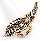 Gold Plated Textured Diamante 'Feather' Flex Ring - 7cm Length