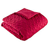 geo embroidery bedspread red