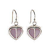 Silver Pink Mother of Pearl Heart Earrings 8-57-9289