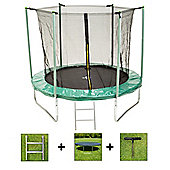 Up and About 8ft Galaxy Green Trampoline Package with Free Ladder, Weather Cover and Building Tool
