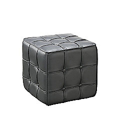 Calista Ottoman Faux Leather Black