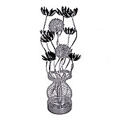 Aluminium Flower Table Lamp in Silver & Black