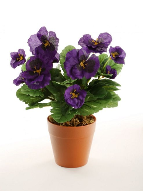 buy artificial 30cm purple pansy plug plant from our. Black Bedroom Furniture Sets. Home Design Ideas