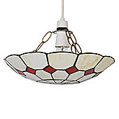 Cortez Stained Glass Ceiling Light Pendant Shade in Cream and Red