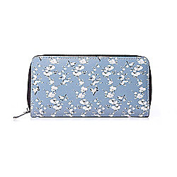 Blue and White Blossom Print Zip Purse