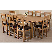 Seattle Solid Oak Extending 150 - 210 cm Dining Table with 8 Lincoln Oak & Leather Chairs