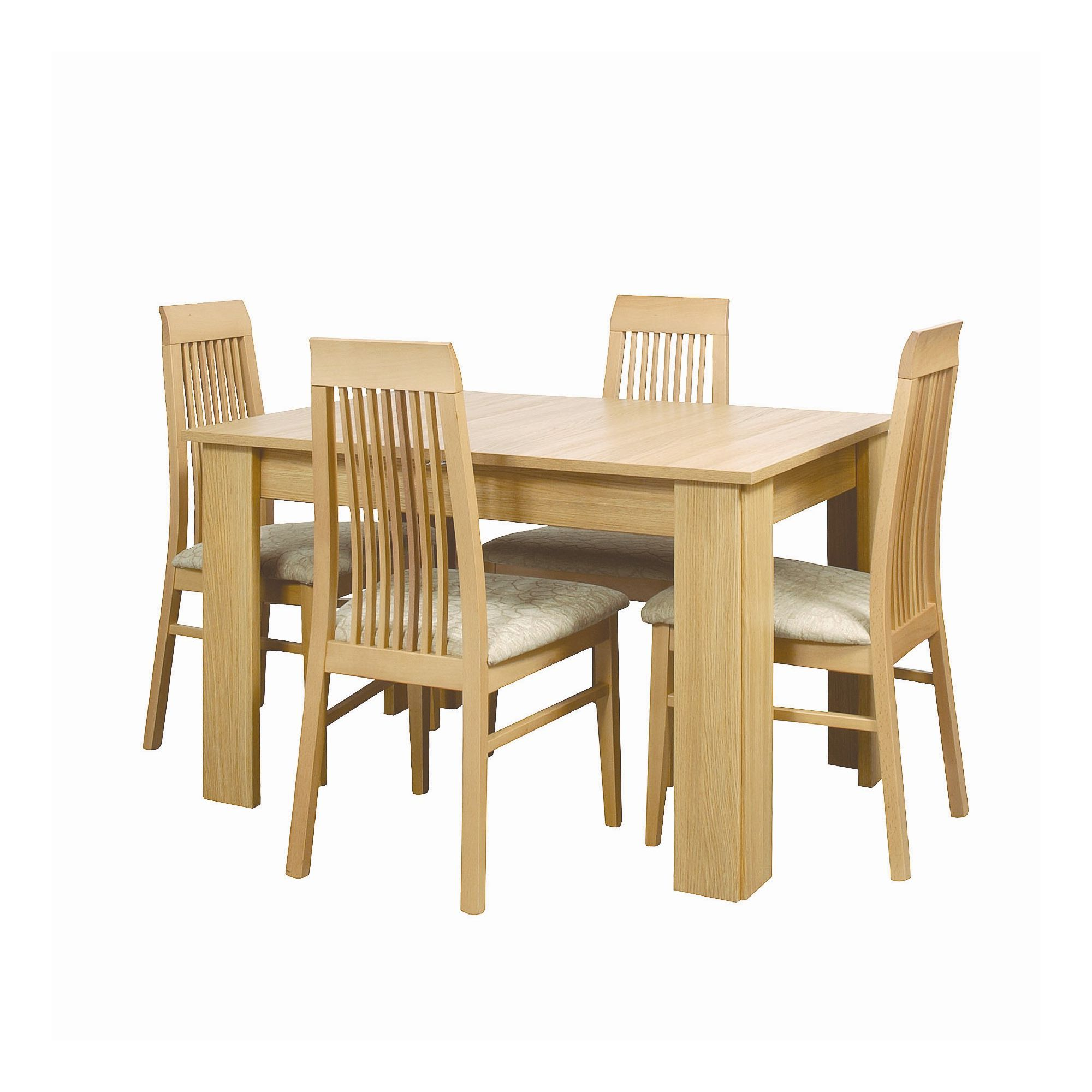 Caxton Huxley Dining Table Set with 4 Slatted Back Dining Chairs in Light Oak at Tesco Direct