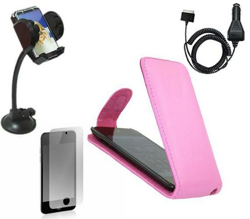 iTALKonline LCD Protector, Car Charger, In Car Holder and Flip Case Pink - For iPod Touch 4G