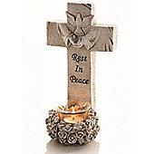 24cm Cross Tea Light Holder Garden Memorial & FREE Candles