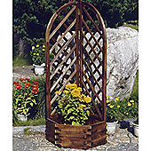 Trellis - Solid Wood Garden Flower Planter / Pot - Burntwood