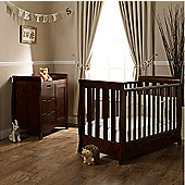 Obaby Lincoln Mini Cotbed, Changer and Under Drawer - Walnut