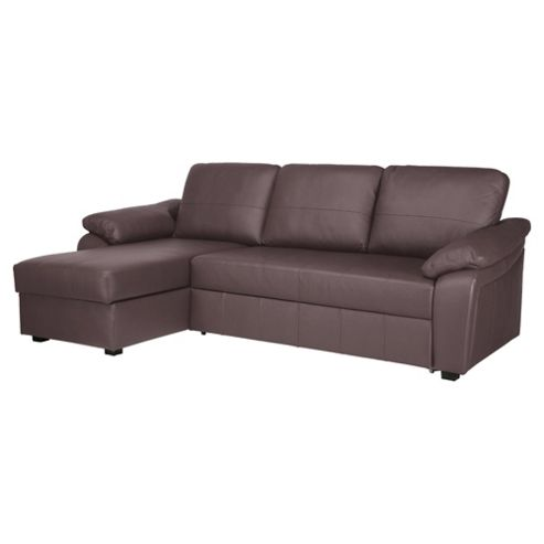 Ashmore Leather Corner Chaise Sofa Bed Brown Left Hand Facing