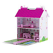 Plum Hove Childrens Wooden Dolls House with Accessories