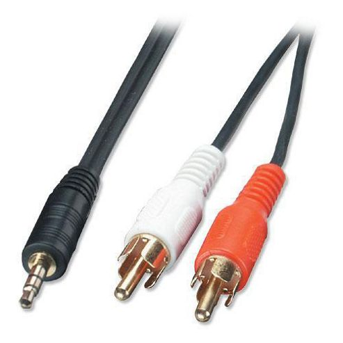 LINDY 7.5m Audio Cable - 3.5mm Stereo Jack Male to 2 x Phono Male Premium.