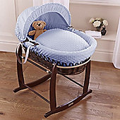 Clair de Lune Dimple Dark Wicker Moses Basket (Blue)