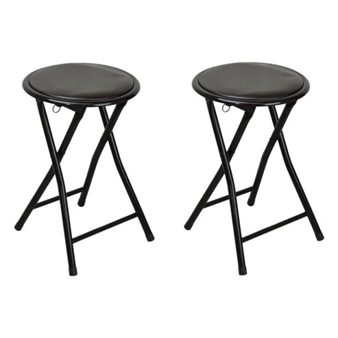 buy harbour housewares round compact folding stool black. Black Bedroom Furniture Sets. Home Design Ideas