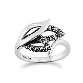 Gemondo Sterling Silver 0.19ct Marcasite Art Nouveau Style Crown Ring